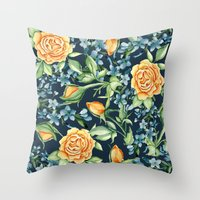 roses Throw Pillows featuring Roses by Julia Badeeva