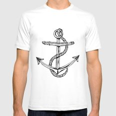 Anchor White SMALL Mens Fitted Tee