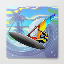 Windsurfer on Ocean Waves Metal Print