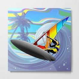 Windsurfer on Ocean Waves Metal Print