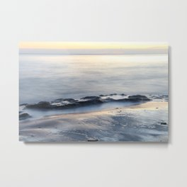 Seascape with beautiful rocks during a sunset. Costa del Sol, Andalusia, Spain. Metal Print