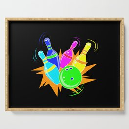 Neon Vintage Retro Strike Bowling. - Gift Serving Tray