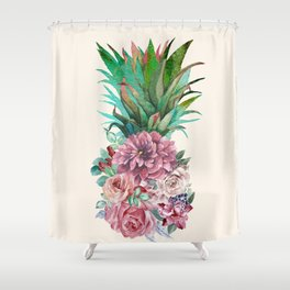 Floral Pineapple Shower Curtain