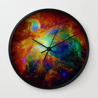 nebula Wall Clocks featuring Orion NEBula  : Colorful Galaxy by 2sweet4words Designs