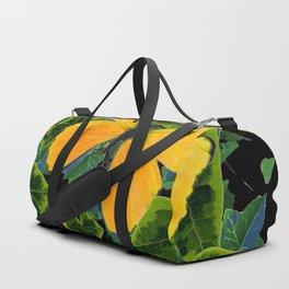 GOLDEN BUTTERFLIES GREEN IVY LEAVES BLACK ART Duffle Bag