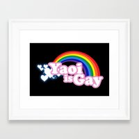 yaoi Framed Art Prints featuring Yaoi is Gay (High Contrast Version with T-shirts) by merimeaux