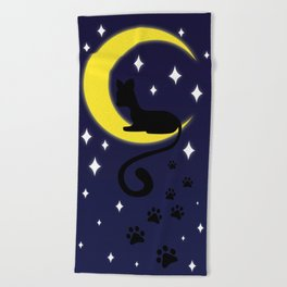 Cat on the Moon Beach Towel