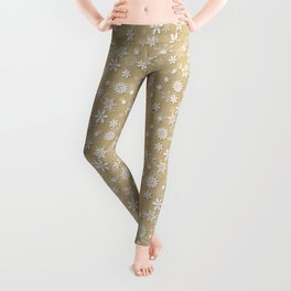 Festive Gold and White Christmas Holiday Snowflakes Leggings