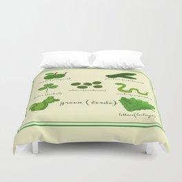 Colors: green (Los colores: verde) Duvet Cover