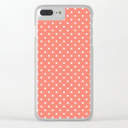 Dots (White/Salmon) Clear iPhone Case
