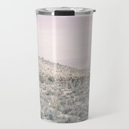Mojave Pink Dusk // Desert Cactus Landscape Soft Cloudy Sky Mountain Scape Photograph Travel Mug