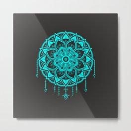 Mandala artwork - turquoise and black Metal Print