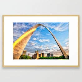 Saint Louis Skyline Morning Under the Arch Framed Art Print