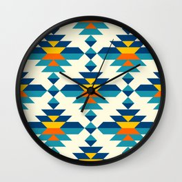 Rounded colorful aztec diamonds pattern Wall Clock