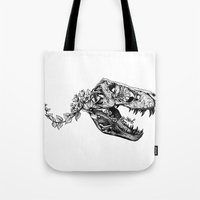 trex Tote Bags featuring Jurassic Bloom - The Rex.  by Sinpiggyhead