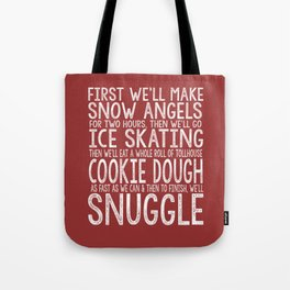 ELF CHRISTMAS MOVIE To-Do List Snow Angels Skating Cookie Dough Snuggle Buddy The Elf Will Ferrell Tote Bag