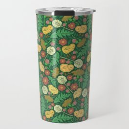 Orange hen with yellow chickens and dandelions on green background Travel Mug