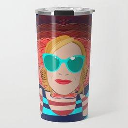 Power Girl with Glasses at the Sea Travel Mug