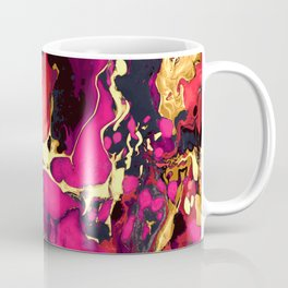 Gold purple and black Marble acrylic paint art Coffee Mug