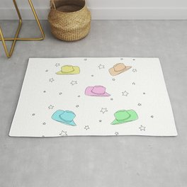 Space Cowboy Rainbow Hats With Drawn Stars Rug