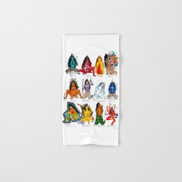 Her Moods - Watercolor Chart of the Emotions of the Female Mind Hand & Bath Towel