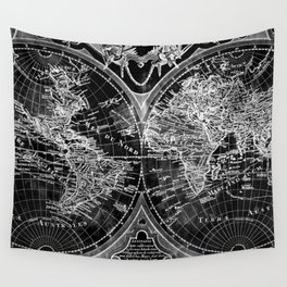 Black and White World Map (1775) Inverse Wall Tapestry