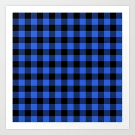 Royal Blue and Black Lumberjack Buffalo Plaid Fabric Art Print