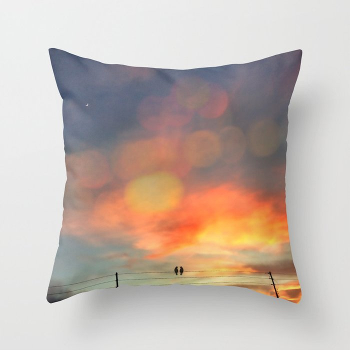Love birds in the sunset Throw Pillow