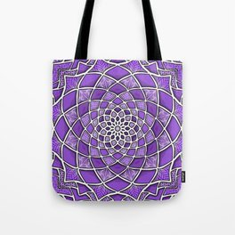 12-Fold Mandala Flower in Purple Tote Bag