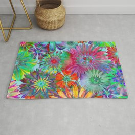 Rivalry of Flowers - multicolor Rug