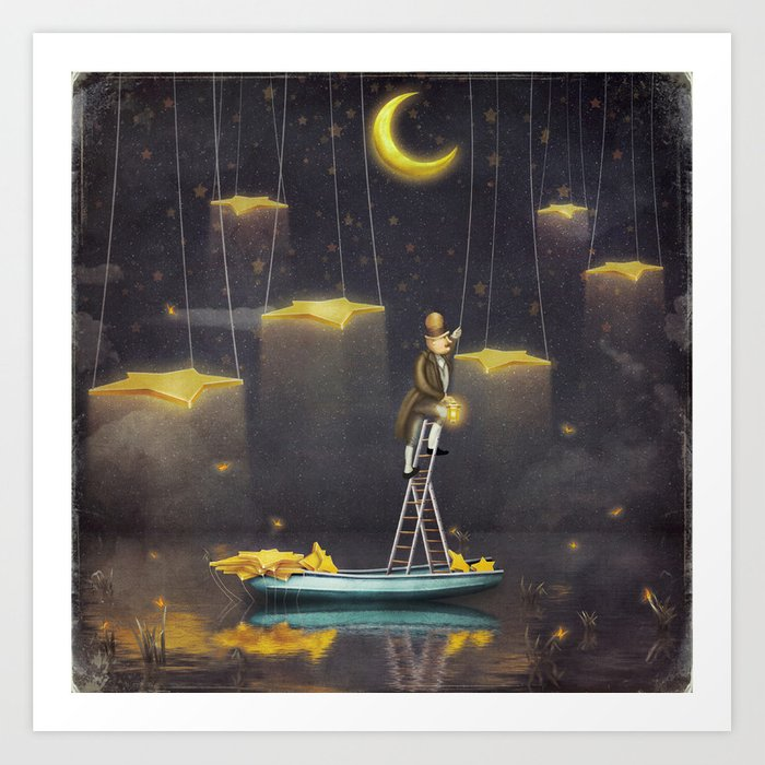 Man reaching for stars  at top of tall ladder Art Print