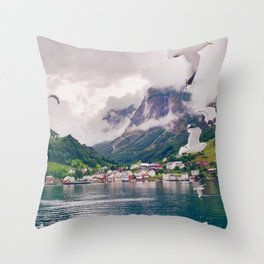 Wandering in Fjords Throw Pillow