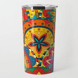 Funky Retro Pattern Mandalas Travel Mug