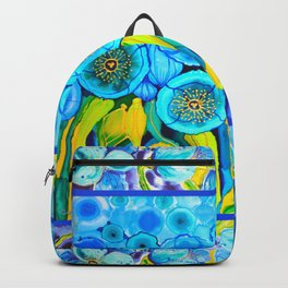 Field of Blue Poppies with Top and Bottom Border Belize Backpack