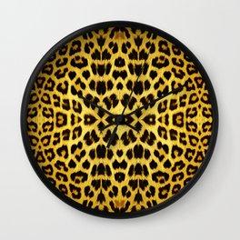 Leopard Print - Gold Wall Clock
