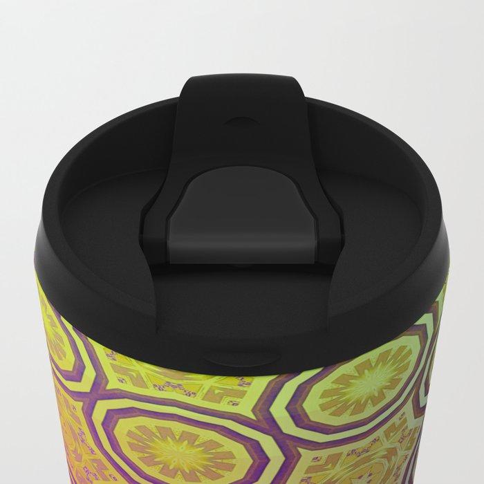 Pink, Purple, Yellow, and Orange Circles and Cogs Metal Travel Mug