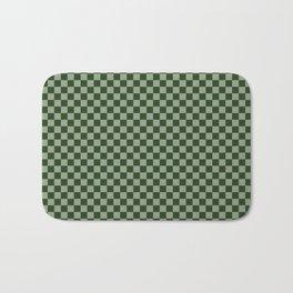 Dark Forest Green Checkerboard Pattern Bath Mat