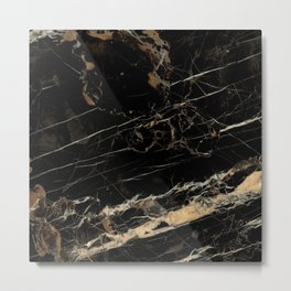 Marble Gold and Black  Metal Print