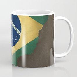 Brazil map special vintage artwork style with flag illustration Coffee Mug