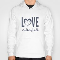 volleyball Hoodies featuring Love Heart Volleyball (blue) by raineon