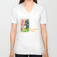 fairytale V-neck T-shirts featuring Mundane Fairytale by AriesNamarie
