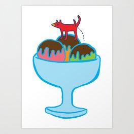 Ice-cream dog Art Print