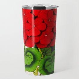 Vintage Scientific Floral Illustration Large Red Flowers Cranesbill Geranium Travel Mug