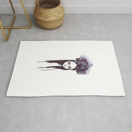 Watercolors Wednesday - Dark thoughts & messy hair Rug