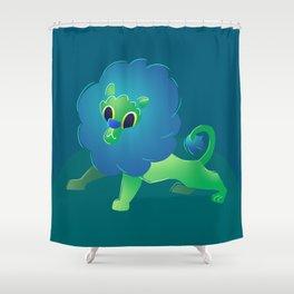 Cute Green Baby Cartoon Lion Shower Curtain
