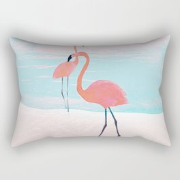 Pair of Flamingos Rectangular Pillow