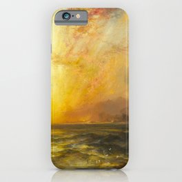 Golden Sunset and Sky over a Troubled Sea landscape painting by Thomas Moran iPhone Case