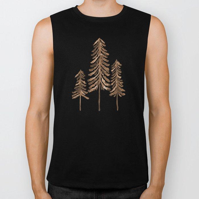 Pine Trees – Sepia Palette Biker Tank