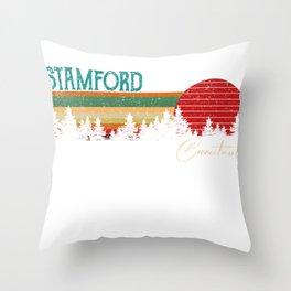 stamford Connecticut Retro Vintage Custom Funny Throw Pillow