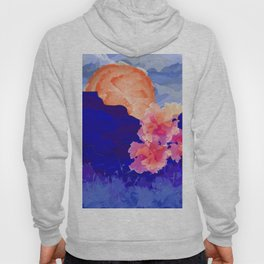 Vibrant Watercolor Mountains, Sunny, Flower Nature Abstract Art Mid-century Retro and Mindful vibes Hoody